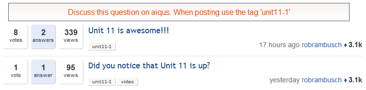 List of aiqus questions displayed directly on the course page
